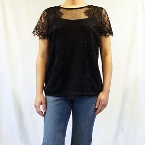 Worthington Black Detail Sheer Lace Blouse w/ Cami
